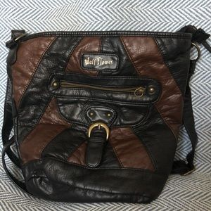 Wildflower brown & black patch faux leather bag